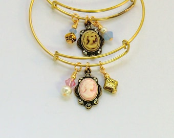 Pink and bronze lady cameo bangles, you choose pink or blue opal vintage style stackable gold bangles, brass cameo bracelets, blue and gold