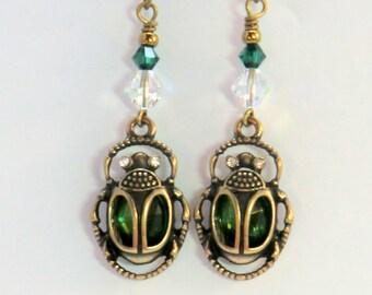 Egyptian scarab earrings, vintage style Nile beetle antique brass green swarovski crystal earrings, animal earrings, insect jewelry, gifts