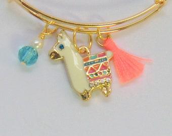 Gold enamel llama charm bangle, multi color pink and blue green llama love bangle with tassel crystals and pearls, animal charm bangles,