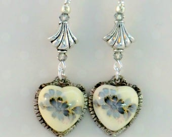 SALE! Antique silver and blue flower vintage heart earrings, heart cameo cabs silver heart earrings, antique silver fleur bead vintage style