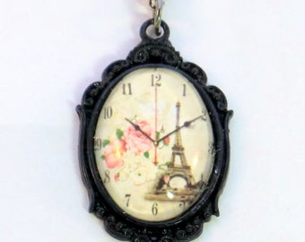 SALE! Black and pink vintage Paris clock charm pendant necklace, roses and Eiffel Tower French cameo charm necklace, black enamel, antique