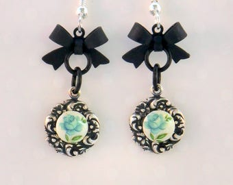 SALE! Black bow charm flower earrings, aqua and pearl vintage cab earrings on antique silver flower settings, small, short earrings, gifts
