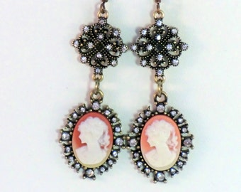 Antique brass and rhinestone cameo earrings, vintage style lady cameo earrings in brass with rhinestone drops, coral and cream cameo