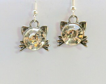 Small kitty face earrings, silver and crystal cat charm with whiskers earrings, girl gifts under 20, cat lovers jewelry