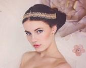 Custom Couture Wedding Bridal Headband, Gold Bridal Headband, Wedding Tiara, Crystal Hair Vine, Bridal Headband The Luna Bridal Headband#170