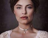 Gold Ivory Bridal Crystal Choker, Bridal choker necklace, Rhinestone Choker, Silver Choker, Bridal jewelry, Crystal Choker AUXERRE GD180119