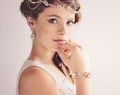Gold Crystal Bridal Headpiece, Crystal Pearl Tiara, Gold Crystal Hairvine , Silver Crystal Headband, Gold Crystal Forehead Band, Daisy #011