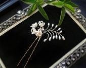 Bridal Hair pin, Wedding hair pin, Pearl Bridal Hair pin, Nature Inspired Hair Pin, style #GD1055