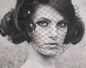 Halloween Bride - Fall Weddings - Wedding Birdcage Veil - Bridal Birdcage Veil - Wedding Birdcage Veil - Abigail Petaled Birdcage style #111