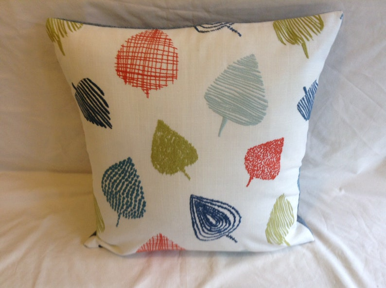 """green and blue leaf design fabric cushion covers 16/"""" X 16/"""""""