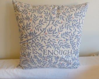 "16"" blue, cream flowered 'love is enough' cushion cover, pillow, pillow case, scatter cushion. Pillow sham."