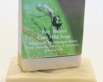 Goat Milk Soap, Bug Buster Bar, Contains Essential Oils that Naturally Repel bugs,  Extra Large Bath Bar, Shampoo bar