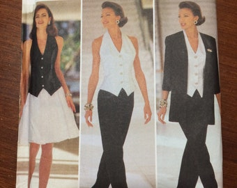 Uncut! 1993 Butterick Jessica Howard Sewing Pattern 6700 Formal Halter Vest Suit, Pants, Skirt Size 6, 8, 10, 12