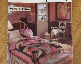 Uncut! 1992 Simplicity Sewing Pattern 7847 CrazyPatchwork Quilt, Wall Hanging, Dresser Scarf and Pillow Cover