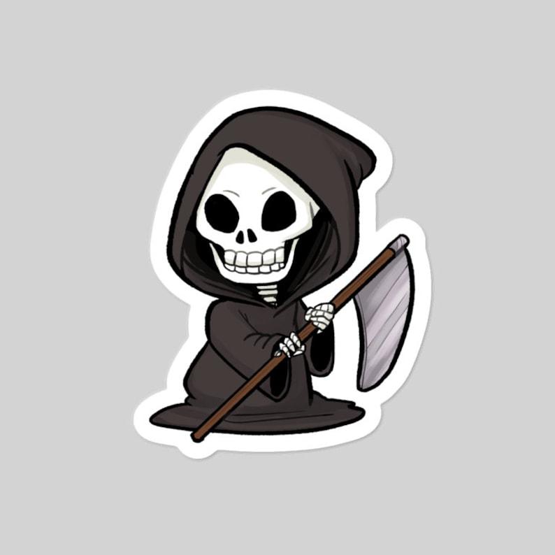Grim Reaper cute Halloween 3 vinyl sticker image 0