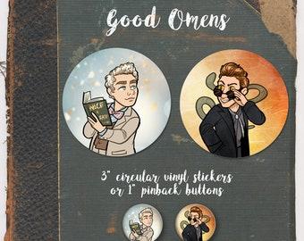 "Good Omens Aziraphale Crowley 3"" Vinyl Sticker or 1"" Pinback Button set"