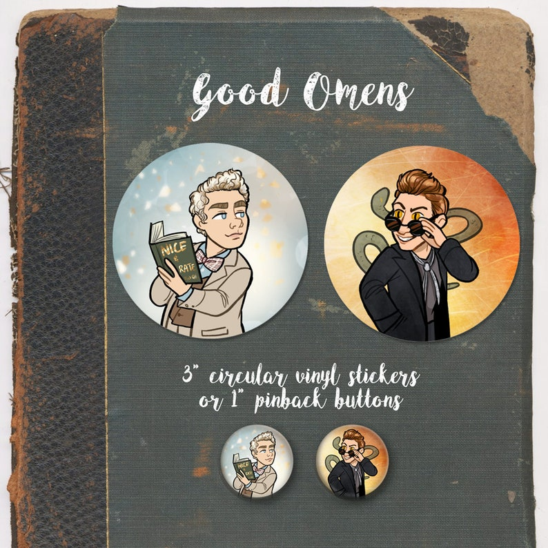 Good Omens Aziraphale Crowley 3 Vinyl Sticker or 1 Set of All 4