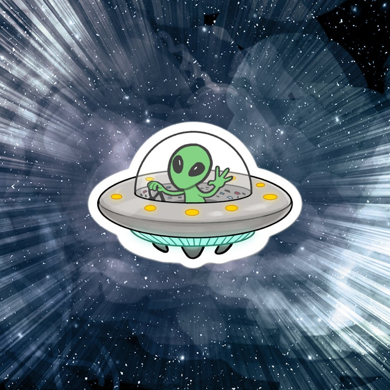 Alien UFO sticker 3 vinyl image 0