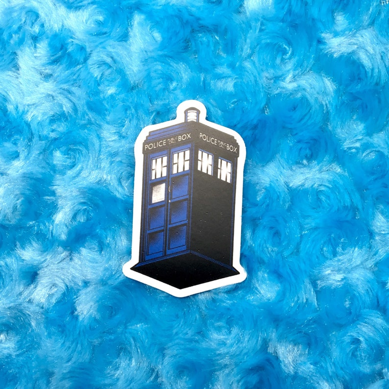 Doctor Who TARDIS Blue Box 3 vinyl sticker or magnet image 0