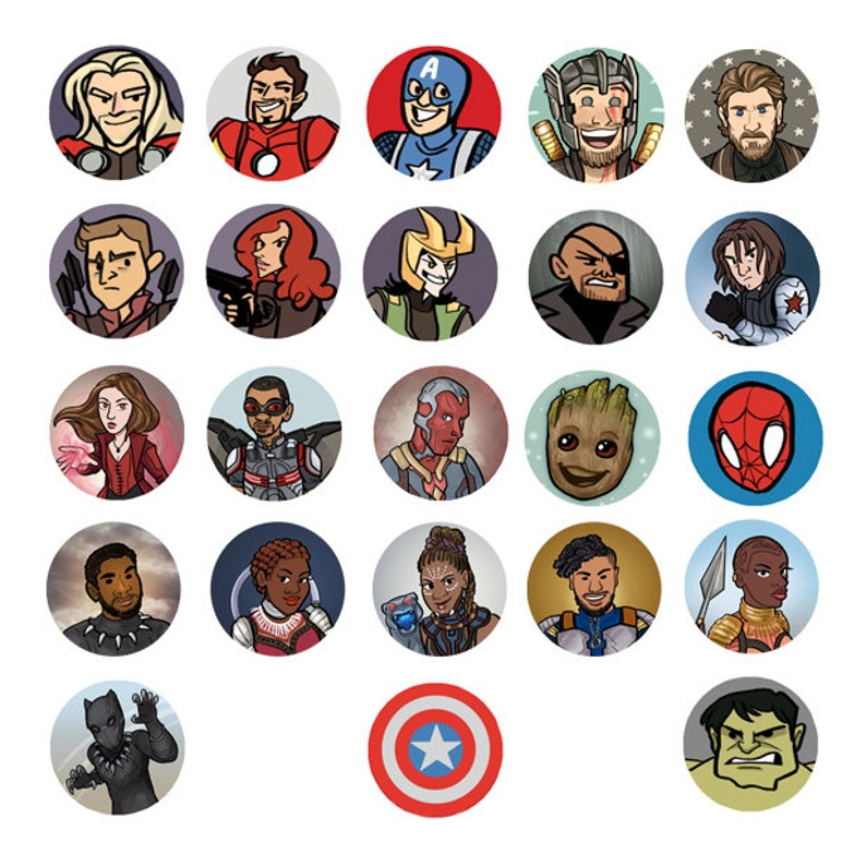 Avengers Marvel MCU Superhero 1 inch Button  Spiderman Thor image 0