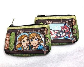 Legend of Zelda Link Sidon BOTW selfie fabric wallet coin purse