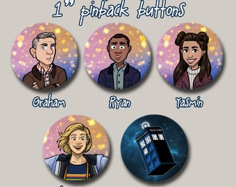"""13th Doctor Who and Companions TARDIS 1"""" Pinback button"""