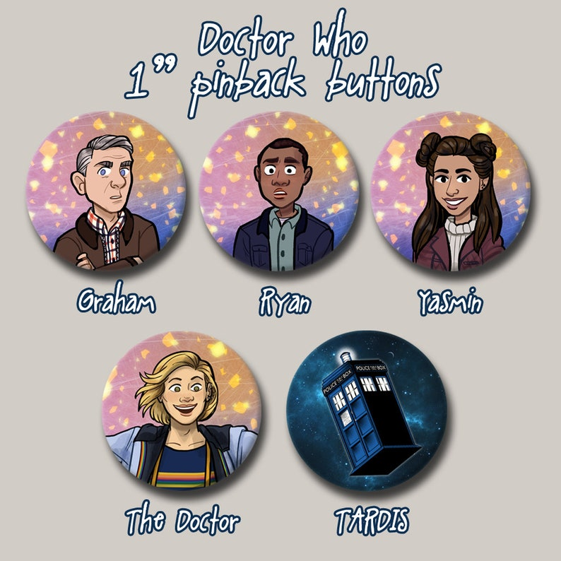 13th Doctor Who and Companions TARDIS 1 Pinback button image 0