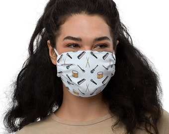 Musical instruments pattern face mask