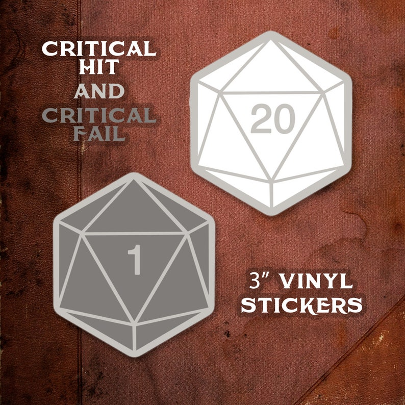d20 Critical Hit Critical Fail Dungeons and Dragons DnD Both stickers