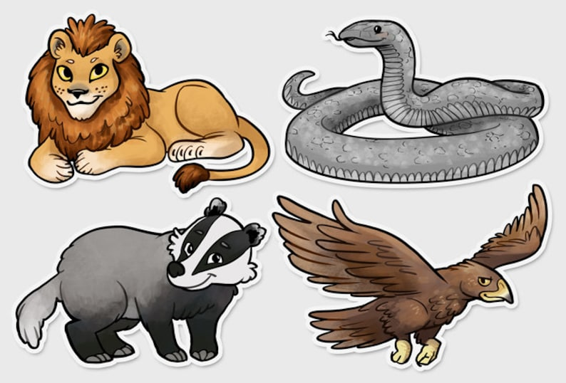 Animal Lion Snake Badger Eagle 3 vinyl sticker Set of all 4