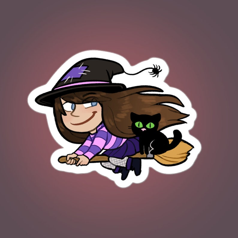 Halloween witch and cat 3 vinyl sticker image 0