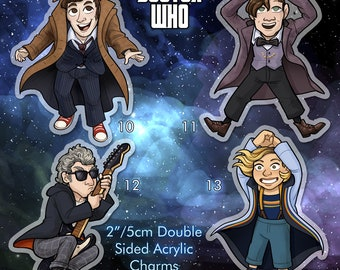 """Doctor Who 2"""" Double Sided Acrylic Charm Doctors 10 11 12 or 13 Keychain with free sticker"""
