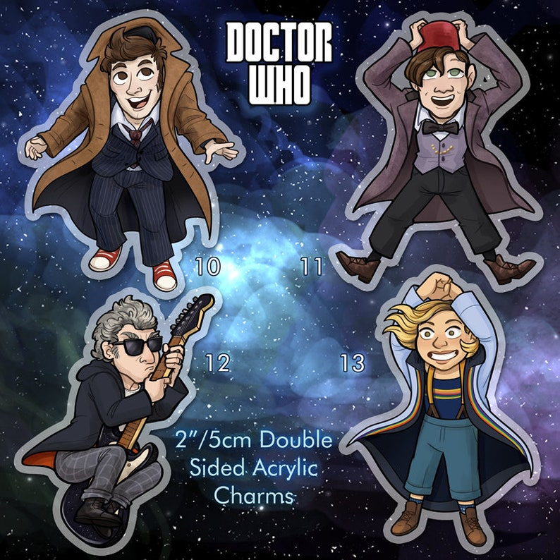 Doctor Who 2 Double Sided Acrylic Charm Doctors 10 11 12 image 0