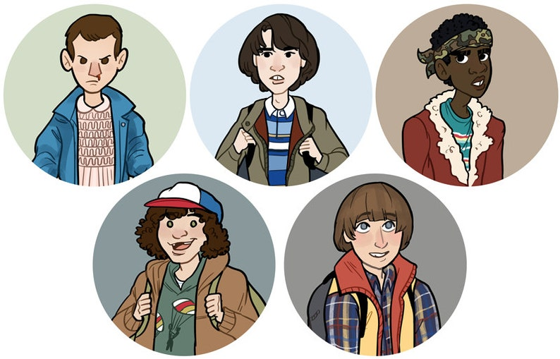 Stranger Things Eleven Will Dustin Lucas Mike 1 Button image 0