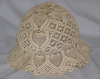 Antique Crocheted Baby Bonnet with Brim can add Ribbon thru Cap ~ Circa  1800 s 5076243cc5ec