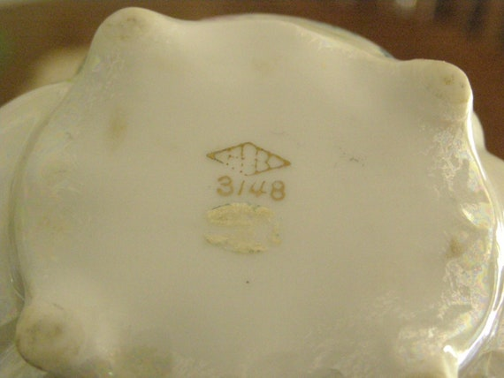 Autumn Leaves-Handpainted Gold Trim Vintage Compote by Lipper with Abalone coloring Butterflies