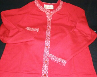 Vintage Jantzen Red Cardigan Wool Sweater 1950's LADIES SIZE 38 with White and Red Trim Fabulous!