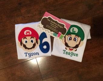 Super Mario and Luigi Birthday shirt