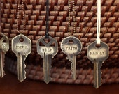 Stamped Key Necklace, Custom Stamped Key Jewelry, Bulk Discounts, Inspirational Gift, Custom Necklace, Best Seller, Great For Layering