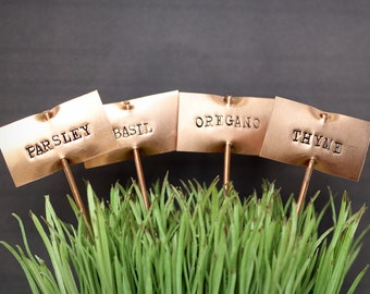 Plant Markers, Vegetable Plant Stakes, Garden Words, Herb Sign, Copper Garden Markers, Herb Markers