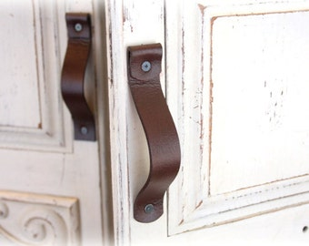 Leather Drawer Handles | Rounded Single Rollover Handles | Finished leather front & back, Wipe away grungy build-up and germs