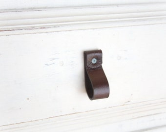Leather Drawer Pulls | Rounded Rollover Drawer Pulls | Finished leather front & back, Wipe away grungy build-up and germs