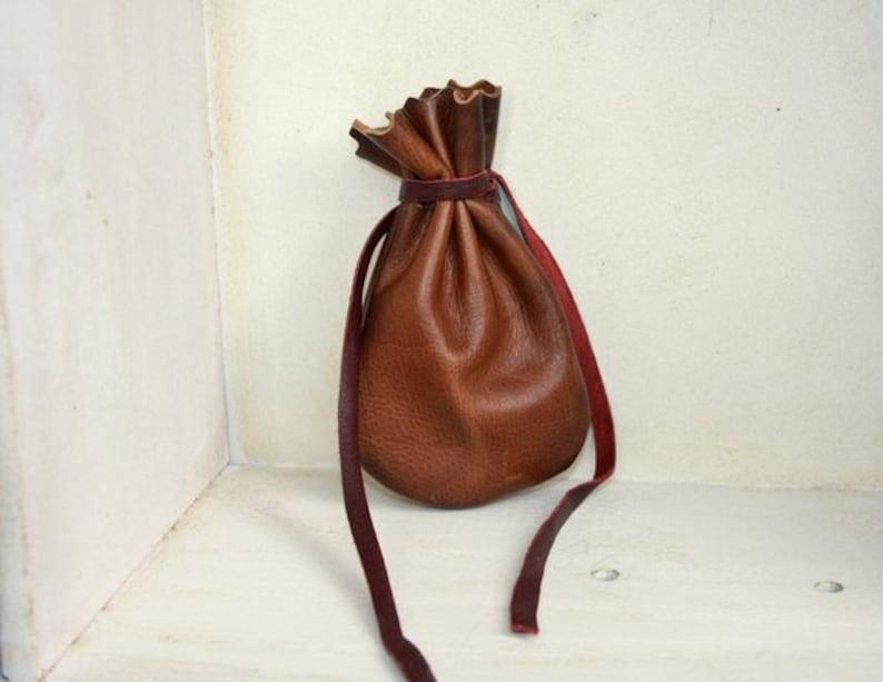 1f4196305ebf4 Leather Pouch Leather Leather Drawstring Bags Coin Pouch   Etsy