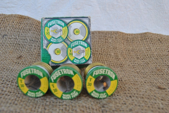 Fusetron T30 dual element fuses with box set of 3 industrial decor old 15 amp fuses for circuit protection in old houses Bussman Mfg