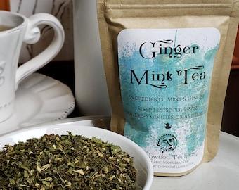 Ginger-Mint Organic Loose Leaf Tea Blend, Caffeine Free