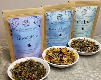 Relaxation Trio Wellness Tea- Calm, Evening Unwind and Goodnight Sleep, Organic Loose Leaf Tea, Caffeine Free