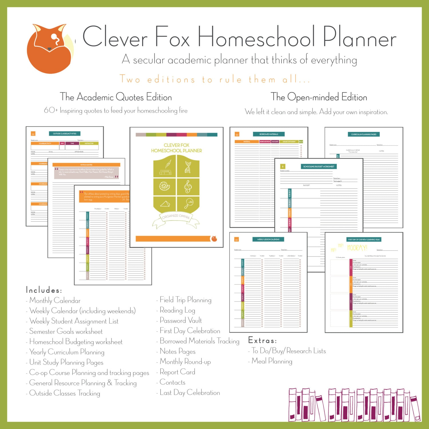 Clever Fox Homeschool Planner Academic Quotes Full Edition Etsy