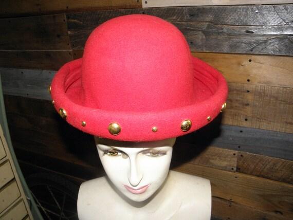 Bollman Hat Co 1950s Red Doeskin Felt Hat w  Gold Studs    15554c052e8