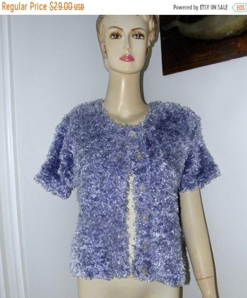 1/2 OFF Lavender Boucle Cardigan Crop Sweater 80's Short image 0