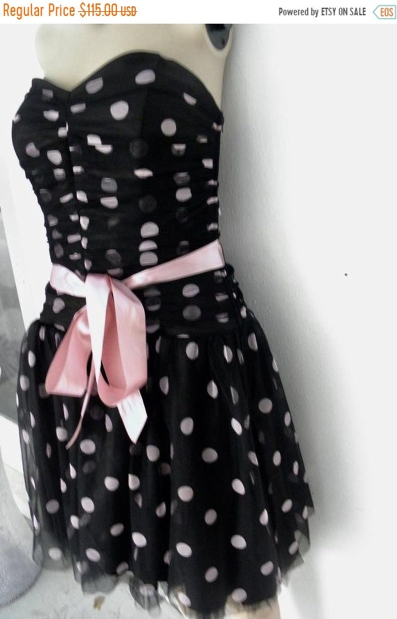50 OFF Jessica McClintock for Gunne Sax Black & Pink Polka Dot image 0